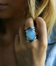 Colorful Moonstone Ring European and American Exaggerated Imitation Thai Silver Vintage Retro Wedding Party Rings