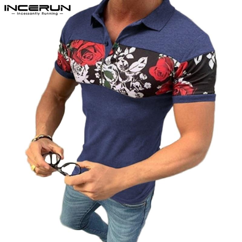 2020 Summer Fashion Shirt Men Slim Flower Print Patchwork Casual Blouse Streetwear Short Sleeve Breathable Lapel Camisa INCERUN