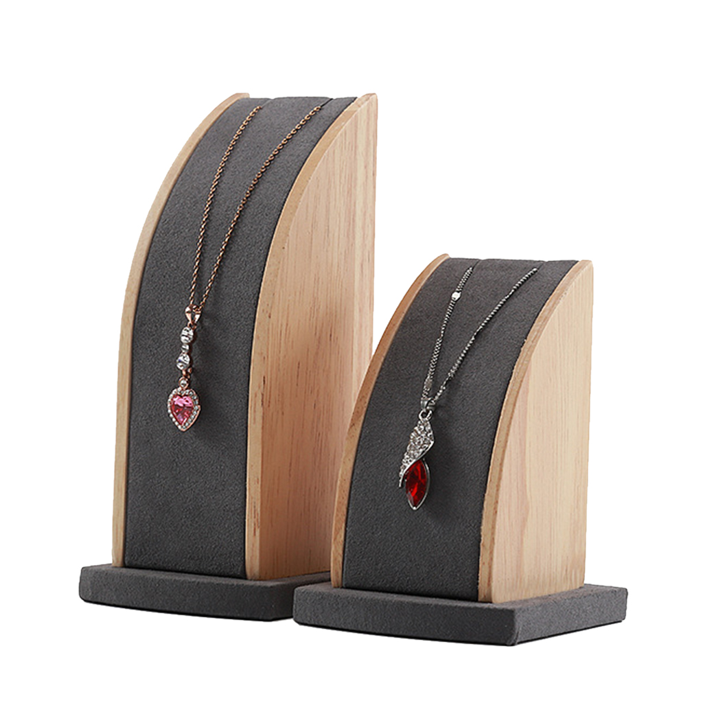 2Pcs Solid Wood Jewelry Stand Holder Tray Organizer Showcase for Pendant Necklace Chains Display or Storage