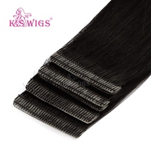 K.S WIGS 10pcs Straight Remy Skin Weft Human Hair Double Drawn Love Line Invisible Tape In Hair Extensions 16 20 24