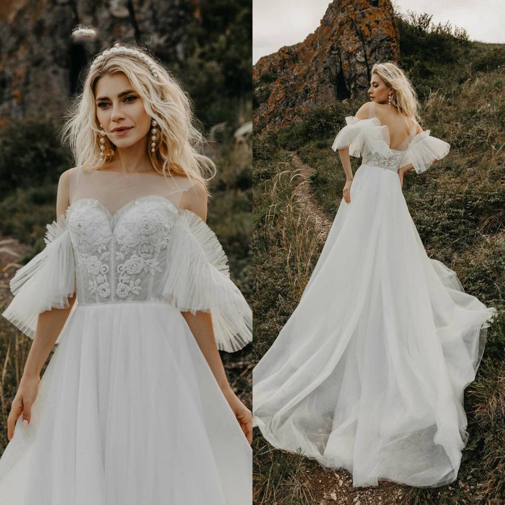 2020 Bohemian Wedding Dress Lace Appliqued Beads Vestido De Noiva Jewel Neck Short Sleeve Plus Size Beach Boho Bridal Gowns