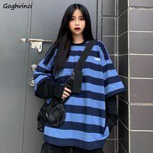 T-shirts de manga longa feminino falso de duas peças listrado harajuku solto bf t estudante rua-vestir moda lazer à moda all-match