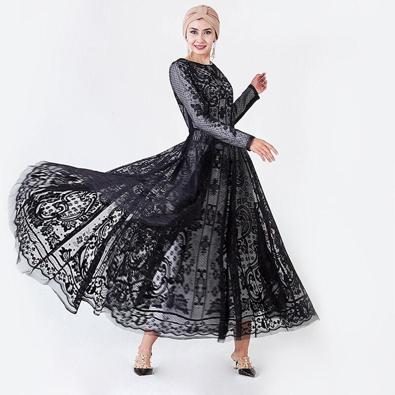 Black Muslim Dress Dubai Abaya Soiree Turkish Evening Hijab Dresses Islam Clothing Abayas For Women Grote Maten Dames Kleding