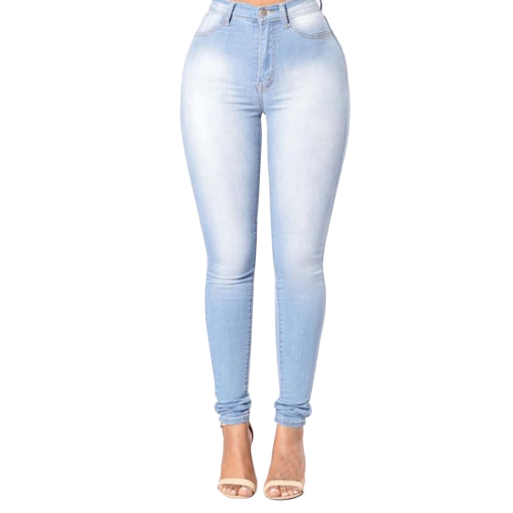 High Quality Fashion Women High Waist Elastic Skinny Jeans Sliming Fit Washed Denim Cowboy Streetwear Long Pencil Pants Trousers