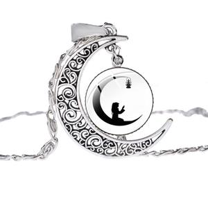 Image 5 - SONGDA Islamic Muslim Allah Culture Necklace Ancient Silver Color Crescent Moon Pendant Clavicle Chain Necklace for Ramadan Gift