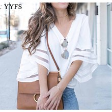 Sexy Women T Shirt V Neck Three Quarter Sleeve Button Tee Ladies Casual Slim Tops slim fit v neck long sleeve button tee