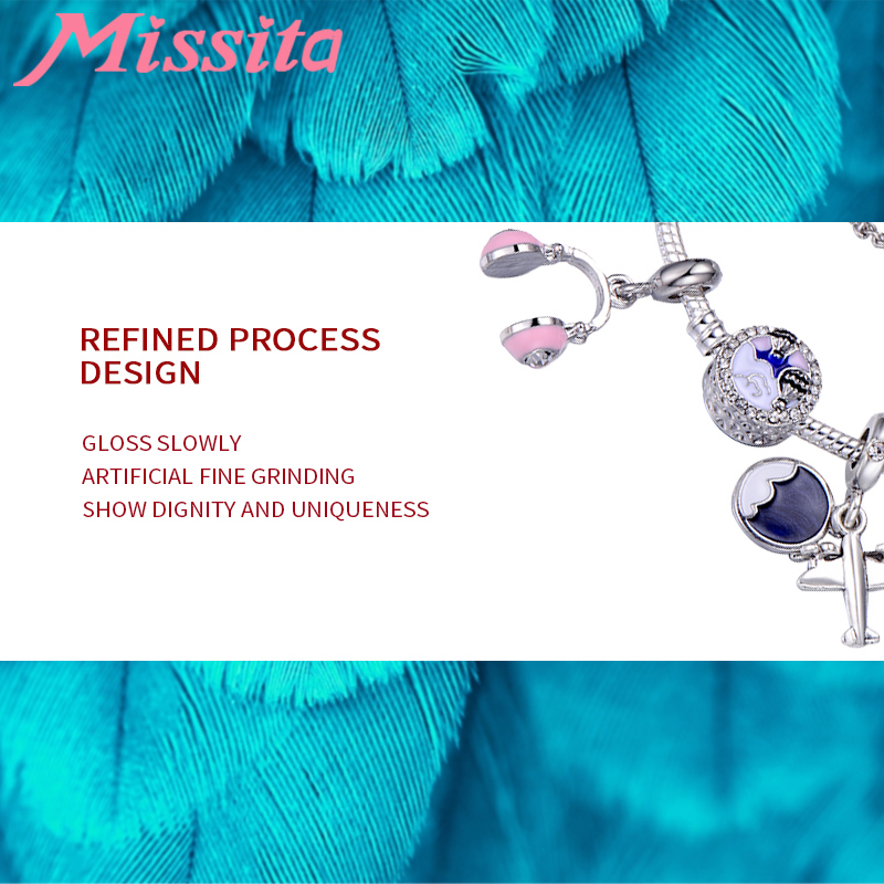 MISSITA Tourist Series Charm Bracelets for Women with Plane Beads Pendant Bracelet Brand Wedding Anniversary Gift pulseras in Charm Bracelets from Jewelry Accessories