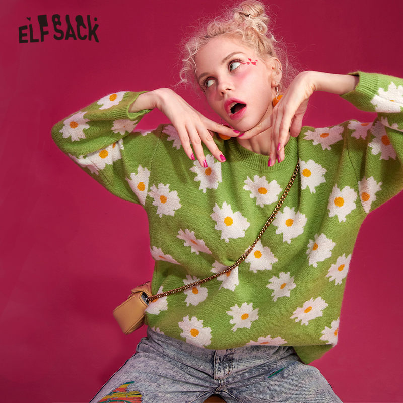 ELFSACK Multicolor Floral Print Casual Knitted Pullover Sweater Women 2019 Winter Korean Style Long Sleeve Office Ladies Tops
