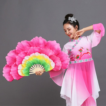 Abanico De baile cuadrado chino, Abanico De baile Para niños, flor peonía,...