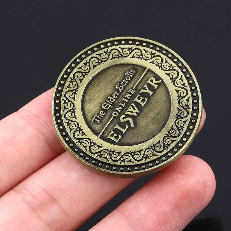 Elder Scrolls Online Elsweyr sikke anahtarlık antik bronz ejderha logosu anahtarlık kutusu ile erkekler kadınlar için koleksiyonu aksesuarları