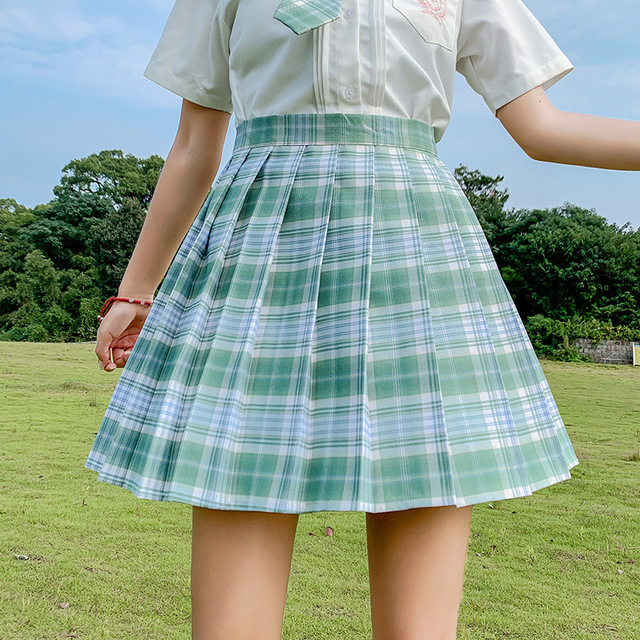 Kawaii Skirt Harajuku Plaid Pleated Mini Skirt 2021 Women Girl Summer High Waist Cosplay Lolita Preppy Style Sweet School JK1001 6