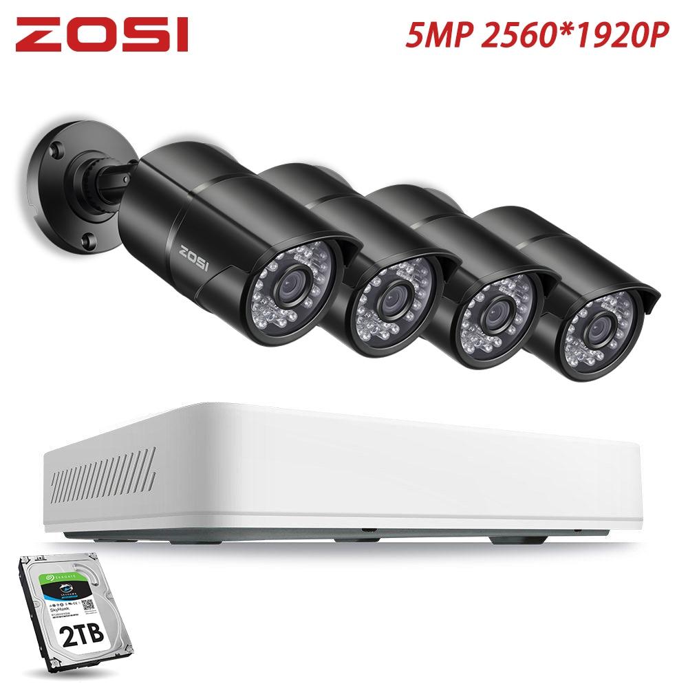 ZOSI 8 Kanal HD 5MP Nightvision View Sicherheit Erkennung Video Kamera System mit CCTV Kugel Kamera 2TB HDD Fest disk DVR Kit