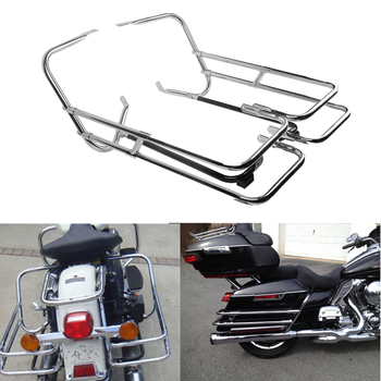 Motorcycle Saddlebag Guard Rail Mounts Bracket For Harley Touring Electra Glide FLHT 97-08
