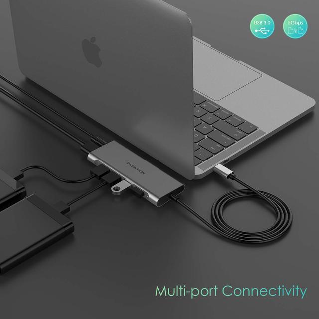 Lention Cable largo USB C multipuerto con 4K HDMI 4 USB 3,0 tipo C adaptador de carga para MacBook Pro 13/15 (Thunderbolt 3)