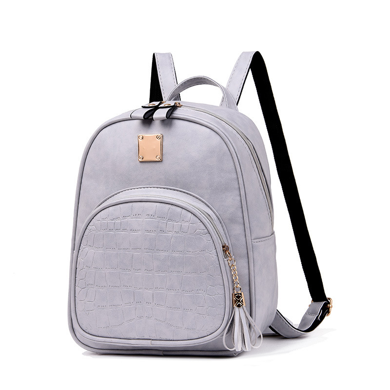 Girls Travel Bag Outdoor Ladies Double-layer PU Leather Backpack Fashion Trend Simple Wild Stone Pattern Bag
