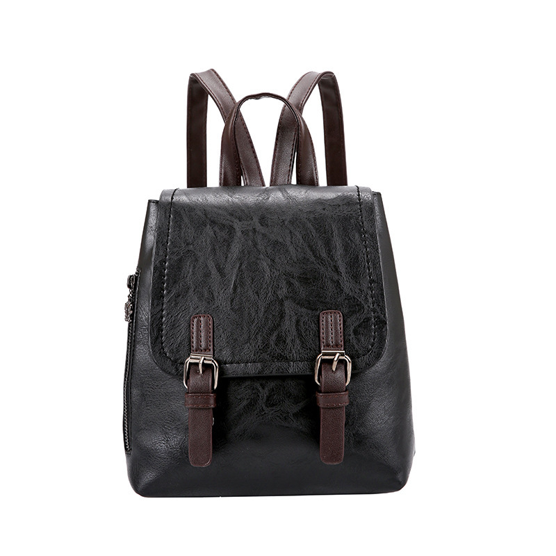 Women's mini backpack pu leather Korean version of the solid color versatile backpack campus female student backpack Mochila image