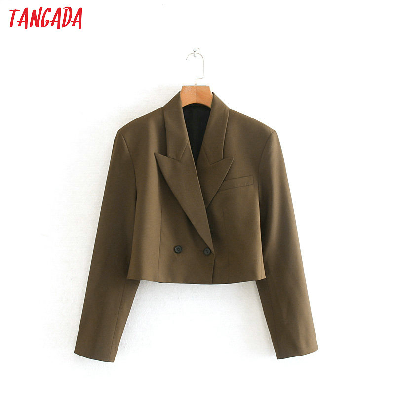 Tangada Women Short Style Double Breasted Suit Jacket Designer 2019 New Arrival Causal Ladies Blazer Pockets Tops 2W98