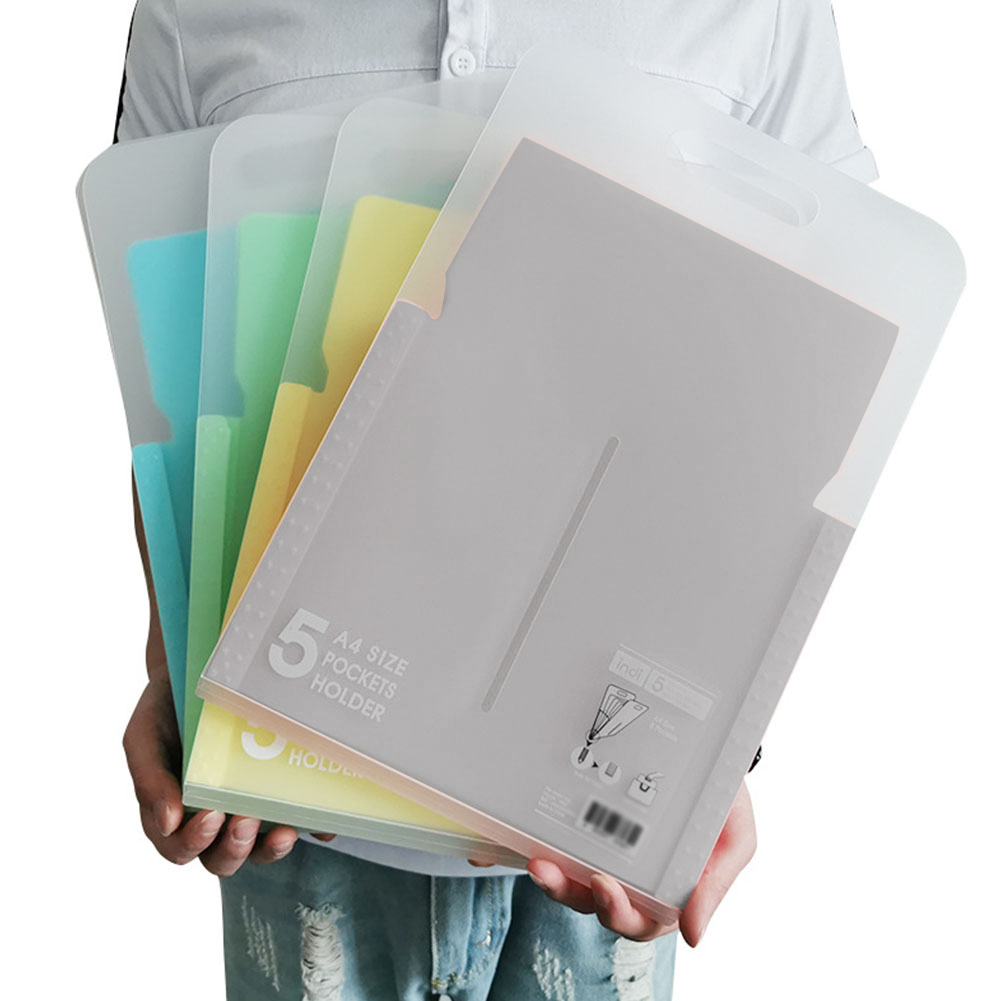 5 Pockets Document Bag Paper File Big Capacity Expanding File Folders A4 Letter Holder Stationery School Office Organizer