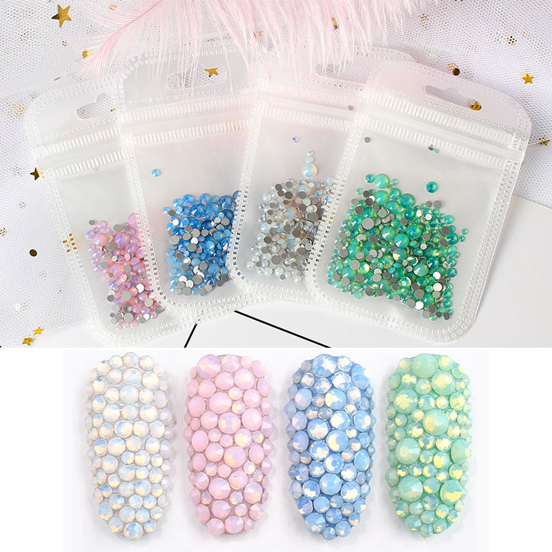 3D Colorful Luminous Shiny Gems Pearl Ornament DIY Stones Accessories Glass Rhinestones Nails Art Decorations Strass Crystals