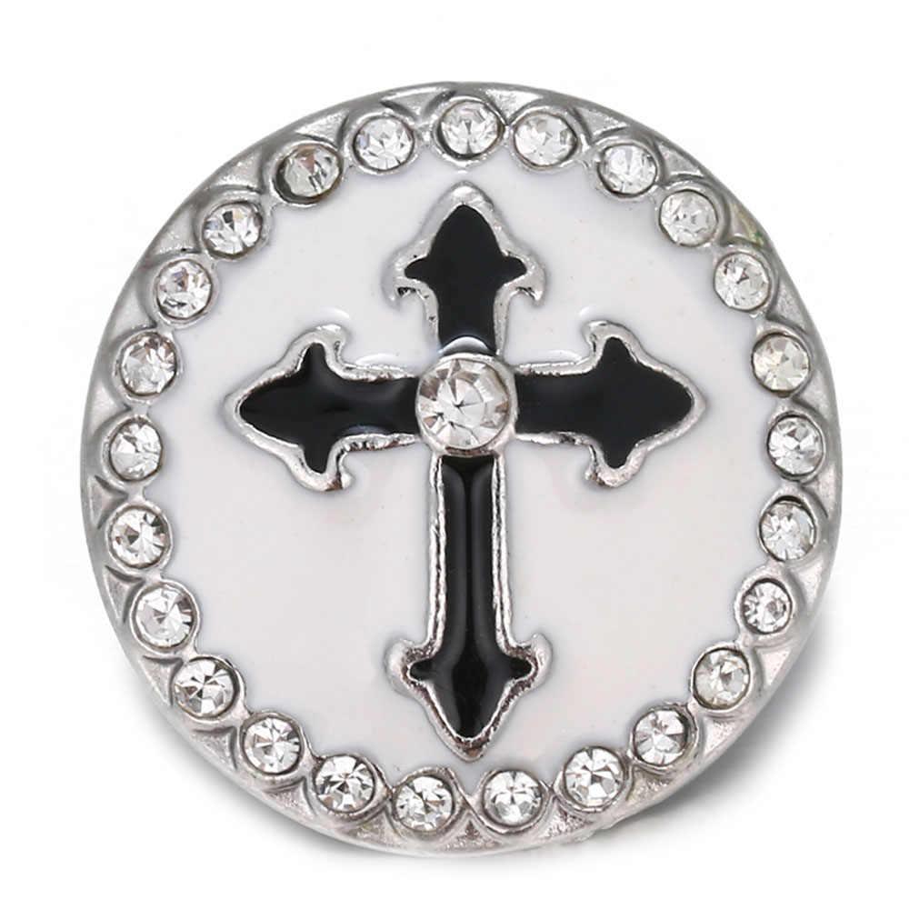 5 unids/lote, nuevo, 18mm, botón de presión, joyería colorida, botones de Cruz de diamantes de imitación de cristal, ajuste a presión, pulsera, joyería intercambiable