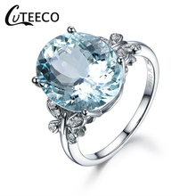 CUTEECO New Elegant Big Ocean Blue Crystal Silver Butterfly Women Rings Brand For Wedding Love Ring Gift Jewelry