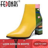 FEDONAS 2019 marque de mode femmes bottines imprimer talons hauts dames chaussures femme fête danse pompes de base en cuir bottes
