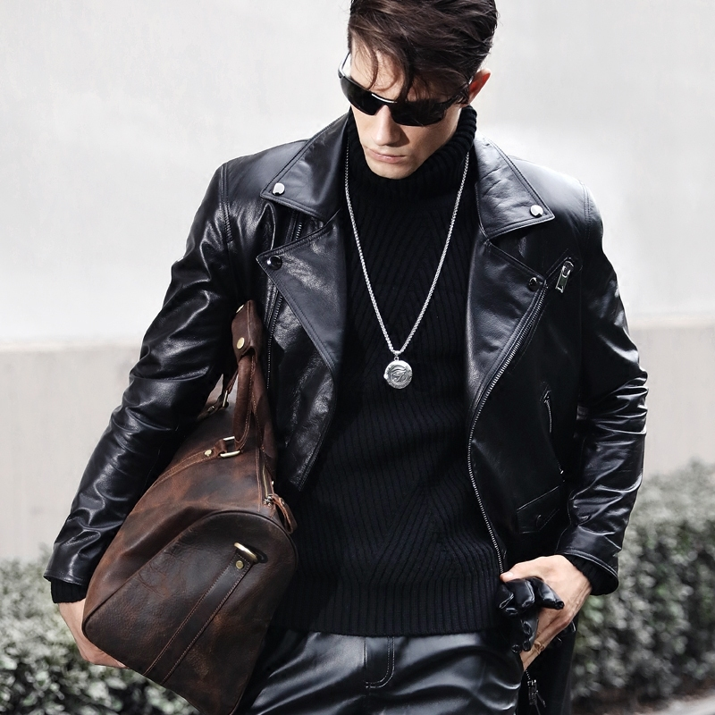 Genuine Leather Jacket Men Long Windbreaker Autumn Winter 100% Cow Leather Jackets Men Motorcycle Coat 3386 KJ2728
