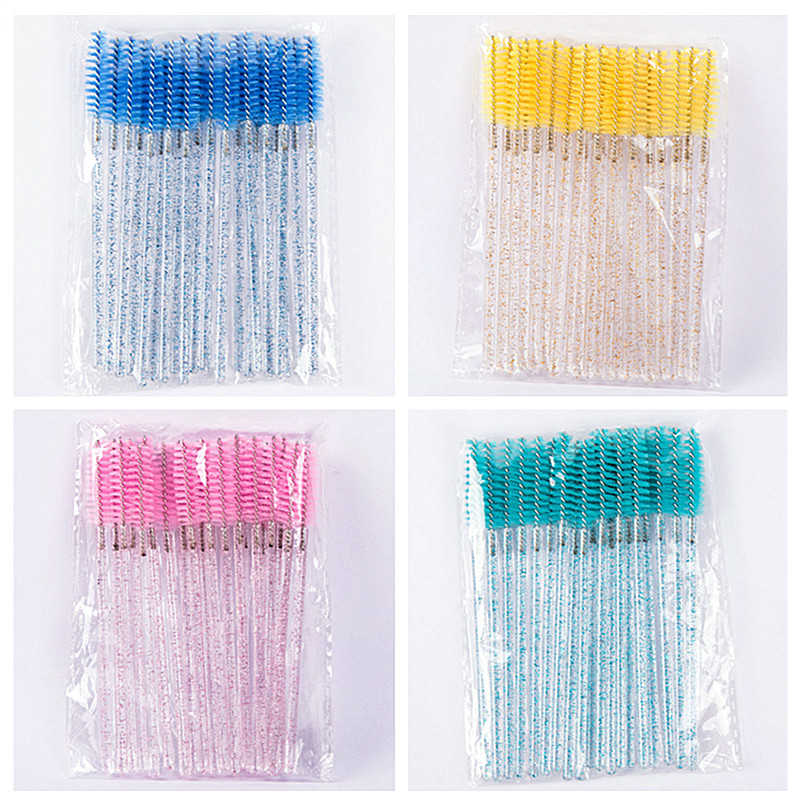 50pcs/Set Disposable Make Up Brushes Cosmetic Eyelashes Crystal Eyelash Diamond Handle Applicator Mascara Wands Tools