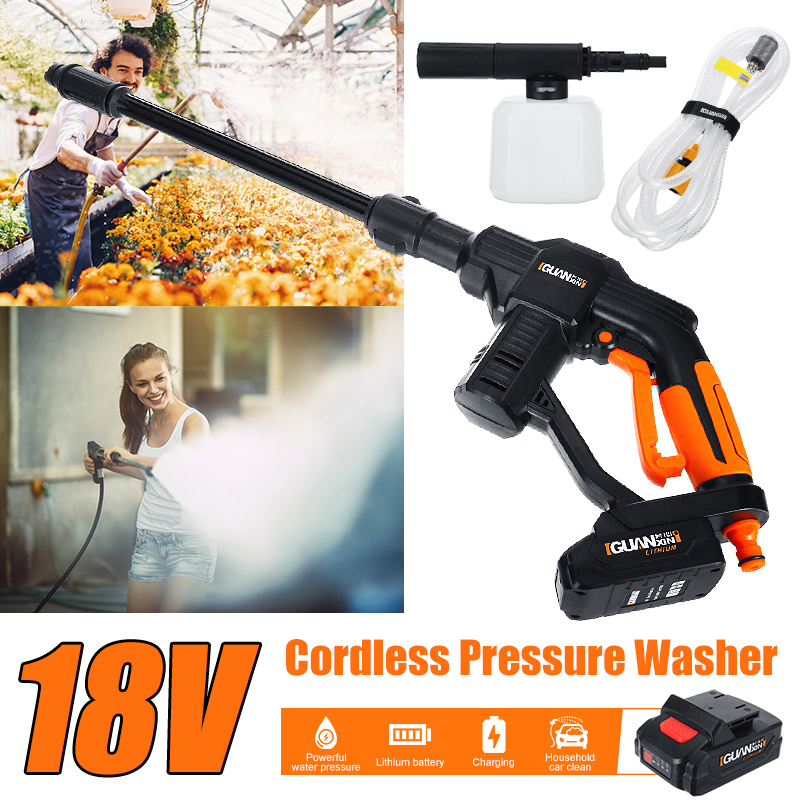 18V Portable Cordless Car Washer Machine 12V High Pressure Electric Water Guns Nozzle Hose Pump Foam Lance Battery Rechargable