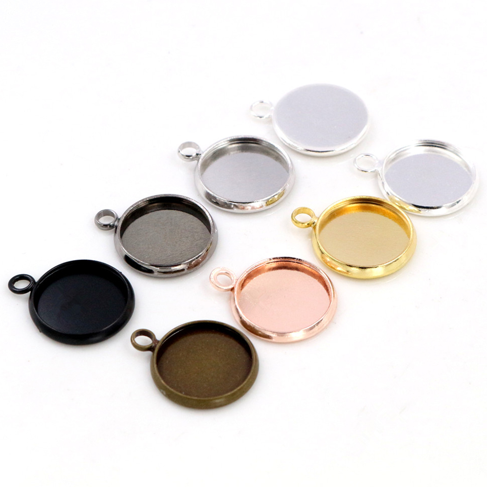 Brass Material 20pcs/lot 10mm 12mm Inner Size  8 Colors Plated One Loops Style Cabochon Base Cameo Setting Charms Pendant Tray