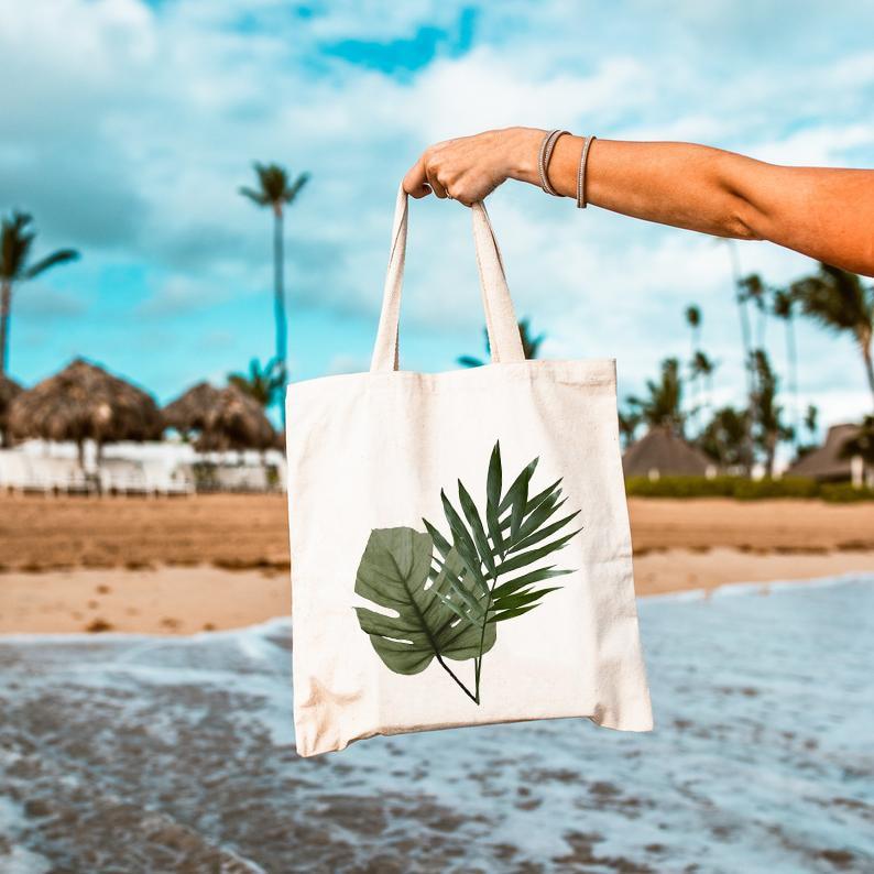 Palm Leaf Tote Bag Beach Wedding Canvas Shoulder Bags Ladies Handbags Bridal Party Totes Large Capacity Bolsas De Tela