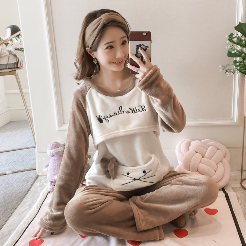 Autumn & Winter Thick Flannel Pregnant Women Pajamas Coral Velvet Confinement Clothing Postpartum Lactation Garment Period Nursi