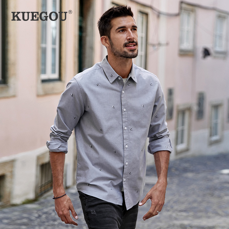 KUEGOU spring Autumn Men's Shirt Long Sleeve Gray fashion Shark fashion embroidery 100% Cotton Shirts men top Plus size BC-20511 1
