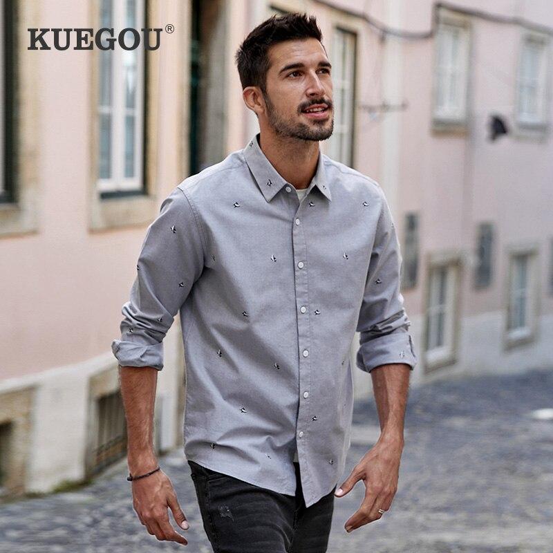 KUEGOU spring Autumn Men's Shirt Long Sleeve Gray fashion Shark fashion embroidery 100% Cotton Shirts men top Plus size BC-20511 1