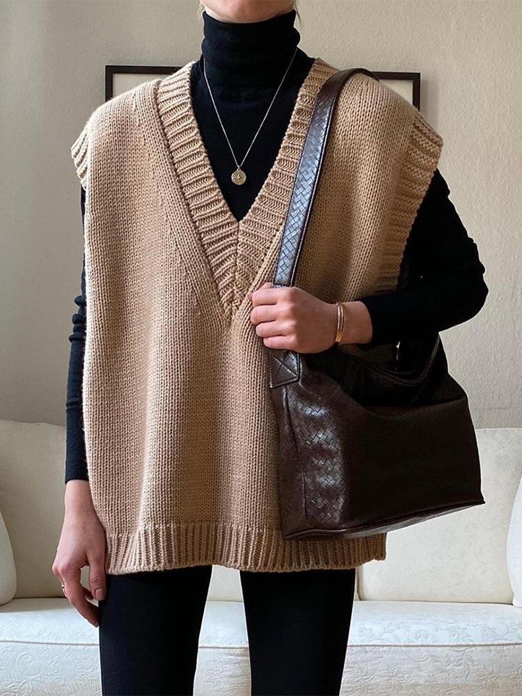 Вязаный жилет FSDA с V-образным вырезом, свитер без рукавов, Женский Повседневный пуловер цвета хаки, черный осенне-зимний серый джемпер 2020, мо...