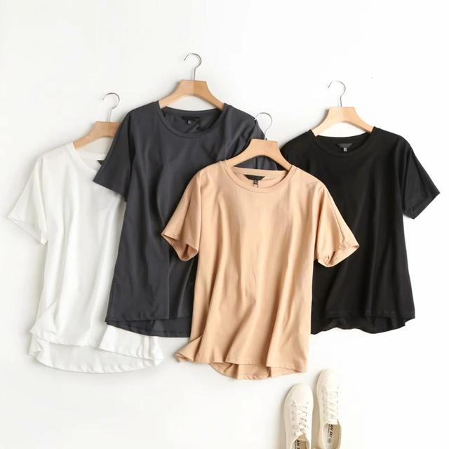 Summer Women Tshirts England Style Simple Solid O-Neck Cotton 2