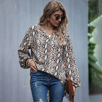 Fashion Fall 2020 Women Asymmetric Snake Print Top Blouse Elegant Ladies Plus Size Lantern Long Sleeve High Low Snake Print Top asymmetric long sleeve top