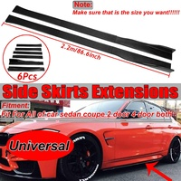 New Carbon Fiber Look 2.2m Universal Car Side Skirt Extensions Splitters Lip For Subaru For BMW For Benz Side Skirt Winglet Lip