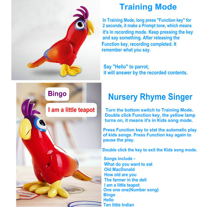 EKSLEN Parrot Robot Voice Robots for Kids Voice Command Touch Control Toys Cute Toy Smart Robotic New years Gifts 5