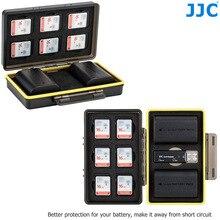 Jjc câmera caixa de bateria cartão de memória caso titular de armazenamento para sd sdhc sdxc msd micro sd microsd xqd cf cartões aa bateria para dslr