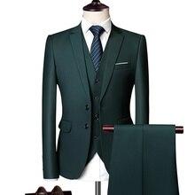 Элегантный свадебный или Выпускной костюм жениха для мужчин, зеленый приталенный смокинг,, Мужская официальная деловая рабочая одежда, костюмы, комплект из 3 предметов(пиджак+ брюки+ жилет