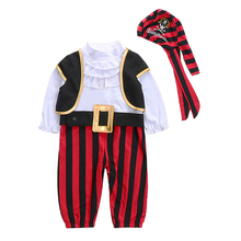 AmzBarley Newborn Pirate costume Baby Boys Halloween clothes set 4pcs Cotton Onesies Vest Hat waistband infant Christmas outfits