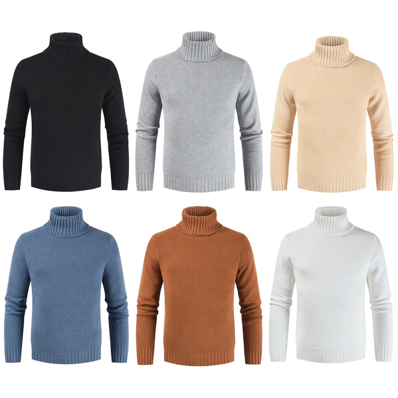 Men's Winter Warm Turtleneck Sweaters Streetwear Knitted Solid Color High Neck Pullover Jumper Tops Mens Autumn Pull Femme
