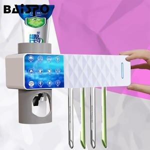 BAISPO Bathroom-Accessories-Sets Toothpaste Squeezers-Dispenser Sterilizer Uv-Toothbrush-Holder