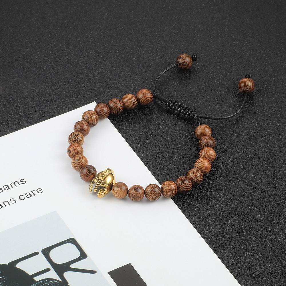 Copper Helmet&8MM Ball Red White Black Lava Natural Stone Beads Bracelets For Women Chakra Wooden Beaded Bangles Men Jewelry