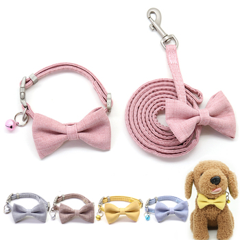 Dog Leash Collar Set Adjustable Soft Cute Bow Double Layer Dog Collar for Small Medium Pet Collar Leash Outdoor Walking customized name phone dog collar leash rope christmas decoration pet necklace with bow tie walking dog straps adjustable buckles