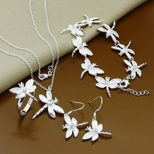 Simple Design 925 Silver Jewelry Sets Fashion Insect Dragonfly Necklace Bracelet Earrings Rings Set for Women Female(China)