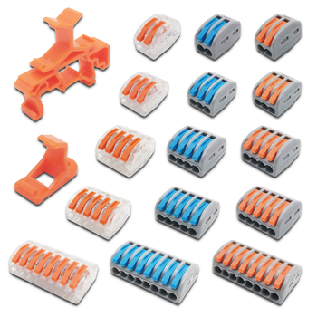 Mini Fast Wire Cable Connectors Universal Compact Conductor Spring Splicing Wiring Connector Push-in Terminal Block PCT-2123458 wire connectors 222 412 413 415 mini fast wire cable conectors universal compact wiring conductor push in terminal block china