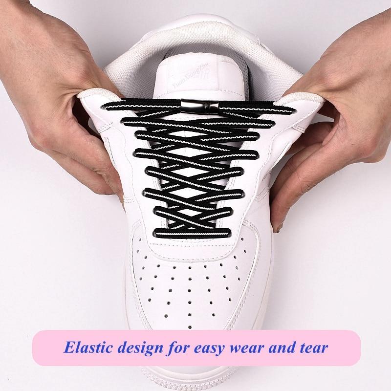 1Pair Elastic Flats Shoelaces Magnetic Quick No Tie Shoe Laces Kids Adult Unisex Locking Shoelace Sneaker Shoe Laces Strings