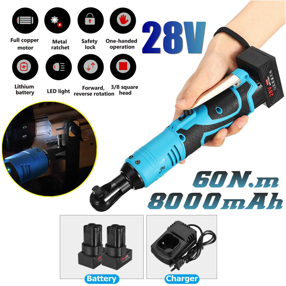 Led Lighting Cordless Electric Ratchet